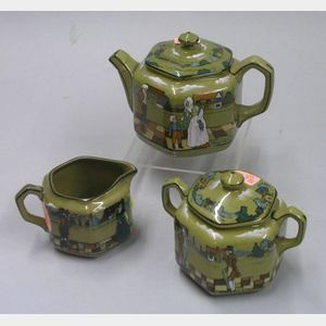 "Three-Piece 1908 Buffalo Pottery Deldare Ware ""Village Life in ye olden day"" Tea Set"