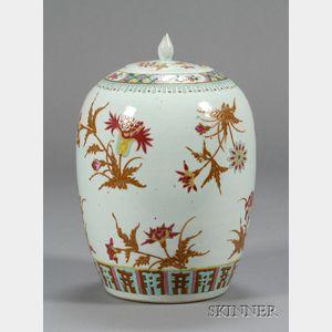 Floral Decorated Porcelain Covered Jar