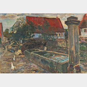 Leo Bauer (German, 1872-1960)    Village Center with Watering Trough