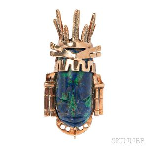14kt Gold and Azurmalachite Pendant