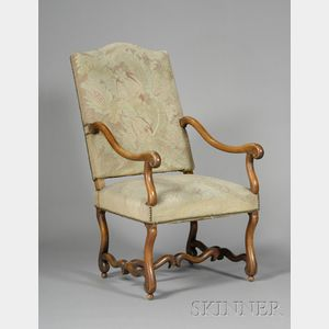 Flemish Baroque Style Walnut Open Armchair