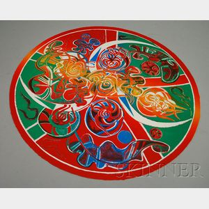 Françoise Gilot (French, b. 1921)      Abstract Lithograph, Round Format.