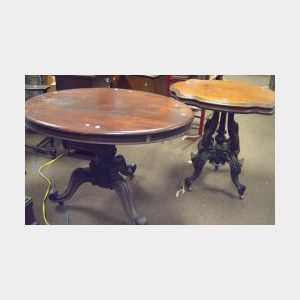 Victorian Walnut Turtle-top Occasional Table and a Rococo Revival Oval Mahogany and Mahogany Veneer Occasional Table.