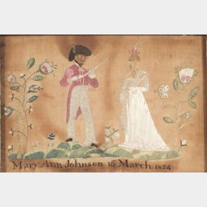 Needlework Picture of a Soldier and a Young Lady