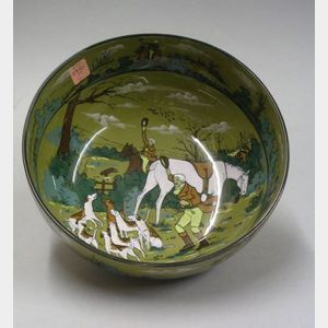 "1908 Buffalo Pottery Deldare Ware ""The Fallowfield Hunt, The Death"" Fruit Bowl"