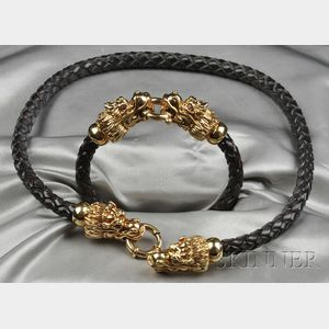 18kt Gold Dragon's Head Necklace and Bracelet