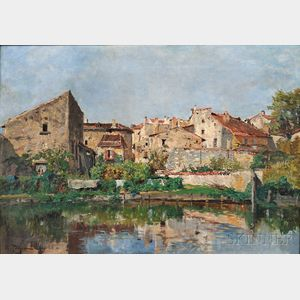 Edmond Marie Petitjean (French, 1844-1925)      Village on the Banks of a River