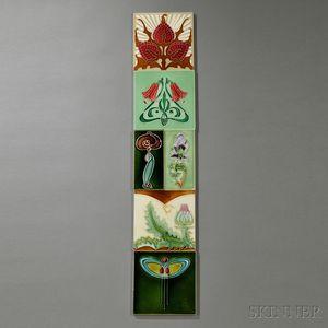 Six Art Nouveau Tiles