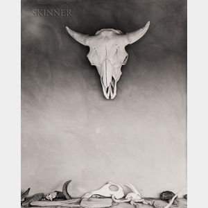 Todd Webb (American, 1905-2000)    Cow Skull and Bones on Portal at Georgia O'Keeffe's Ghost Ranch House, New Mexico, 1960