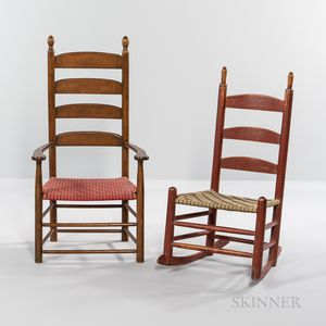 Shaker Red-painted Child's Rocking Chair and a Four-slat Armchair