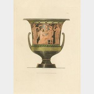 Eight Framed Hand Colored Engravings of Red and Black Grecian Urns