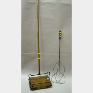 Bissell Reliable Oak and Iron Carpet Sweeper and a Wire Rug Beater.