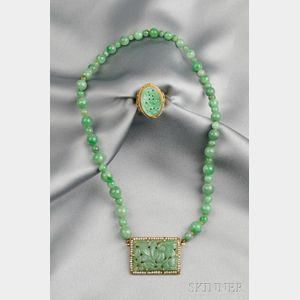 Two 14kt Gold and Jadeite Jewelry Items