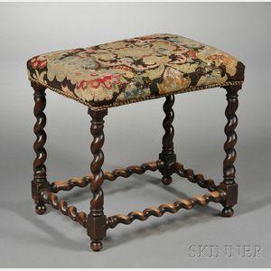 Jacobean-style Tapestry Upholstered Stool