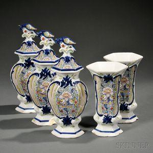 Dutch Delft Five-piece Vase Garniture