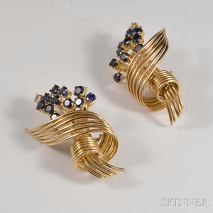 Retro 14kt Gold, Sapphire, and Diamond Earrings