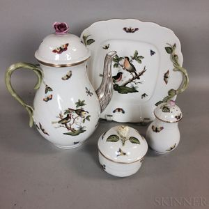 "Four Pieces of Herend ""Rothschild Bird"" Porcelain Tableware"