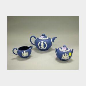 Three-Piece Wedgwood Dark Blue Jasperware Teaset.