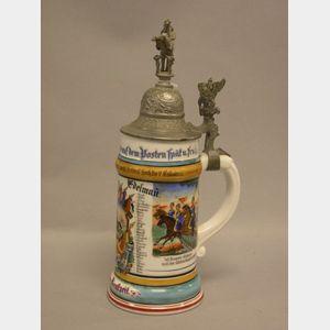1902 German Military Commemorative Handpainted Porcelain Lithophane Stein.