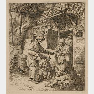 Christian Wilhelm Ernst Dietrich (German, 1712-1774)      Peddler at the Cottage Door