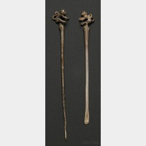 Two Pre-Columbian Silver Items