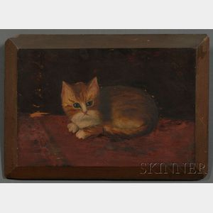 American School, 19th Century      Recumbent Kitten.