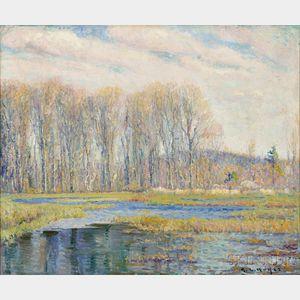 George Loftus Noyes (American, 1864-1954)      Spring Along the Water Meadow