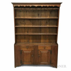 Country Walnut Paneled Cupboard