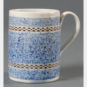 Mochaware Mug with Checkered Banding