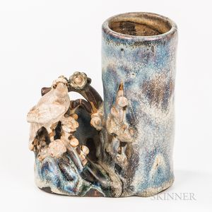 Shiwan-style Glazed Stoneware Brush Pot