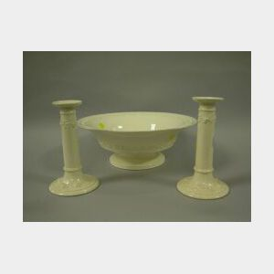 Wedgwood Embossed Queensware Center Bowl and a Pair of Candlesticks.