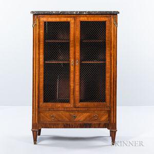 Louis XVI Marble-top, Tulipwood- and Satinwood-veneered, Ormolu-mounted Bookcase