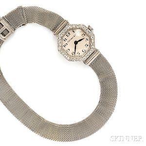 Art Deco Platinum and Diamond Wristwatch, Retailed by Tiffany & Co.