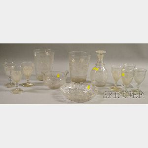 Four Colorless Cut and Etched Glass Items and Seven Pressed Pattern Glass Goblets