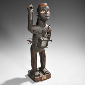Sold for: $255,000 - Large Kongo Carved Wood Nail Power Figure