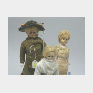 Three Small Dressed Wax over Papier Mache Lady Dolls