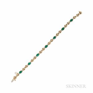 14kt Gold and Emerald Bracelet