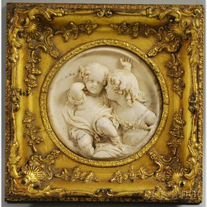 Wyon Alabaster Plaque of Two Children
