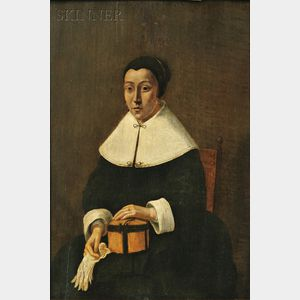 Dutch School, 17th Century      Portrait of a Seated Woman Holding a Box and Gloves