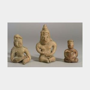 Three Pre-Columbian Seated Pottery Figures