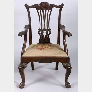 Chippendale Revival Carved Mahogany Open Armchair
