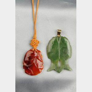 Two Carved Hardstone Pendants