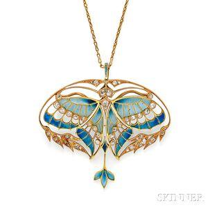Art Nouveau 18kt Gold, Plique-a-Jour Enamel, and Diamond Pendant/Brooch, Henri Vever