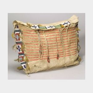 """Central Plains Beaded and Quilled Buffalo Hide """"Possible Bag,"""""""