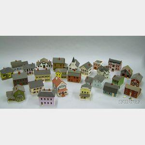 Twenty-three G. & M. Gudgel Miniature Painted Wooden Model Houses.