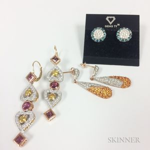 Three Pairs of 14kt Gold Gem-set Earrings