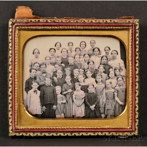 Quarter Plate Daguerreotype Class Portrait at Petersham, Massachusetts