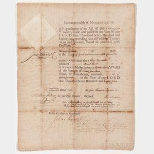 Hancock, John (1737-1793) Ship's Register, Signed 29 May 1784.