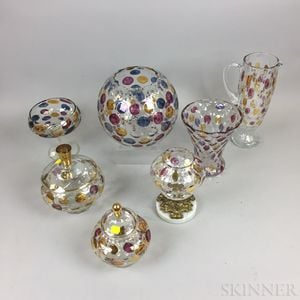 Seven Pieces of Mid-century Czech Glassware