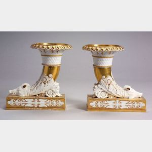 Pair of Paris Porcelain Parcel Gilt Cornucopia Mantel Vases